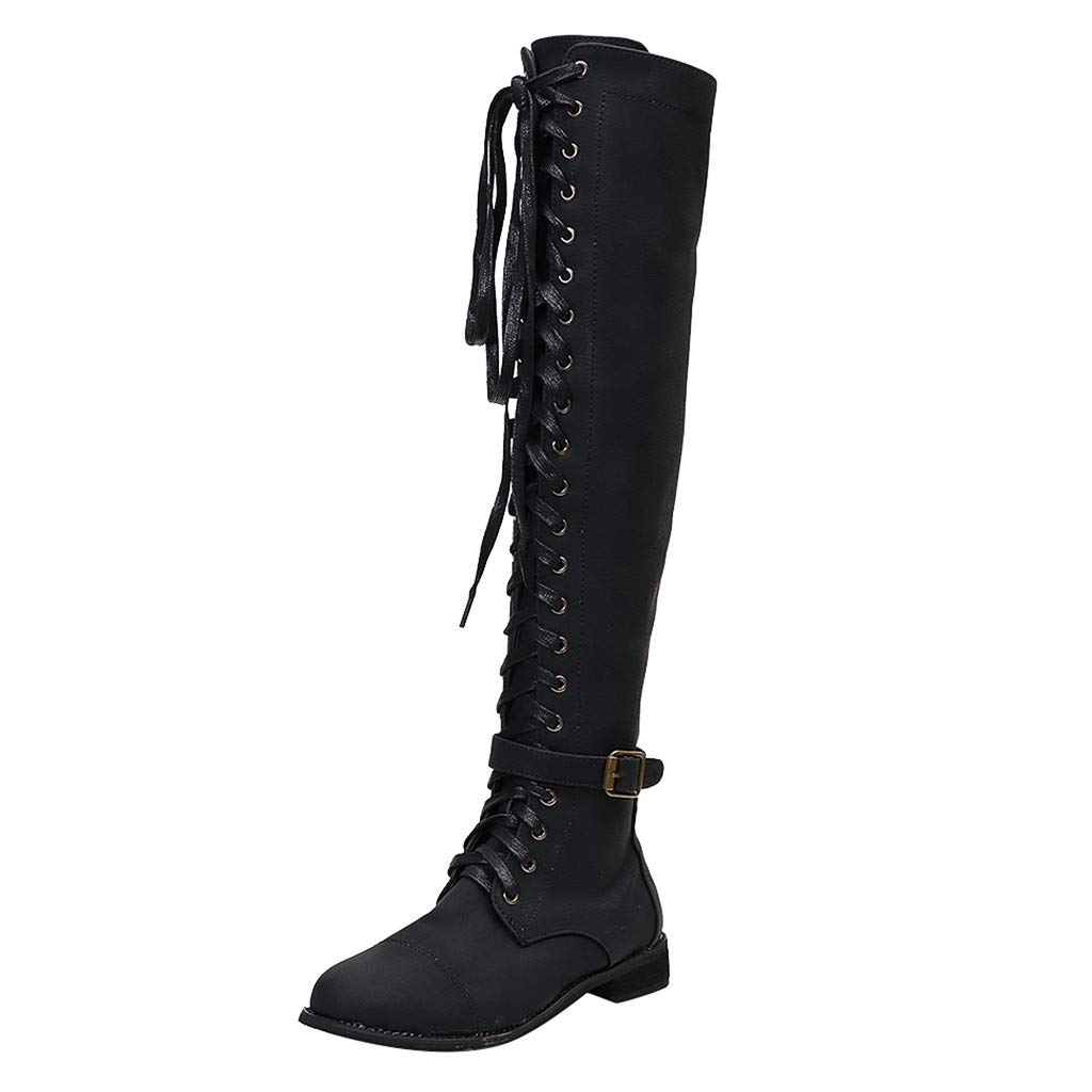 Women's Over The Knee Stacked Chunky Low Heel Retro Lace Up Long Tube Toe High Tall Boots (US:6.5-7.0, Black)