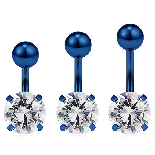 Ruifan 14G 316L Surgical Steel Four Prong-set Clear CZ With Shiny Ball Top Belly Earring Navel Button Rings Short Bar 6mm 8mm 10mm 3PCS - Blue Steel Prong Set Captive Bead