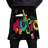 Iancaopin Trendy Painted Hip-hop Canvas Servers Black One Size Apron With Pockets