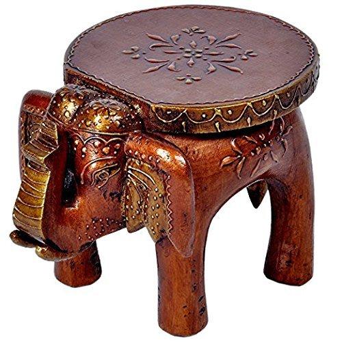 JGARTS More Buying Choices Wooden Wood Elephant Stool Handicraft Gift Foot Stool Step Stool 7.5'' Souvenir