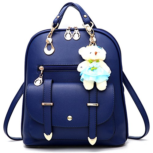 (Backpack Purse for Women Large Capacity Cute Mini Backpack for Girls Pu Leather Bags,Royal blue)
