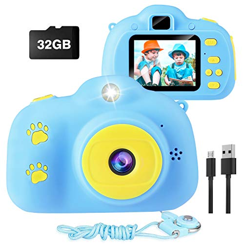Kids Camera, VAV Digital Video Camera for Boys Gifts for Children, Good Size for Little Hands, Easy to Take Pictures and Videos, Cute Rechargeable Creative DIY Camcorder with 32GB SD Card (Blue)