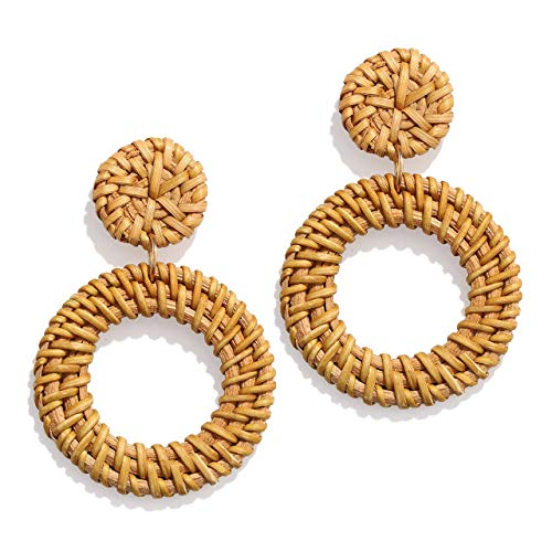 (XOCARTIGE Woven Rattan Earrings Handmade Wicker Earrings Straw Knit Hoop Earrings Lightweight Raffia Braid Drop Dangle Earring for Women Girls (A-Disc Circle))