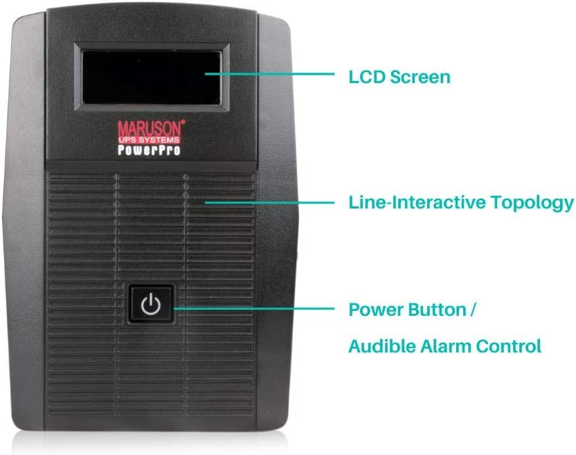 Power Pro LCD Series TUV Certified Overload and Overcharge Protection 800VA // 450W MARUSON 800VA//450W Line Interactive UPS Battery Backup AVR Power Management Software 735J Surge Protection