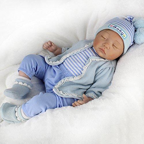 ZIYIUI 22Zoll 55cm Realistische Puppe Neugeborene Babypuppe Reborn Babypuppe Weiches Silikon Vinyl Schlafende Puppe
