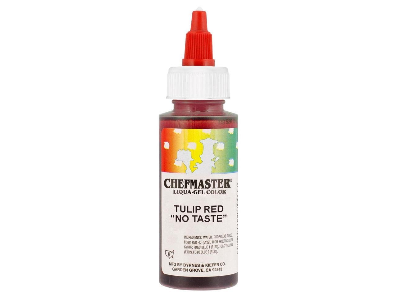 Chefmaster Liqua-Gel Food Color. 2.3 oz. - Tulip Red (no taste ...