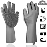 Magic Silicone Dishwashing Gloves Scrubbing Cleaning-Dish Wash Silicone Reusable Sponge Gloves with Scrubber,Great for Washing Dish,Kitchen,Car,Bathroom and More(1 Pair)