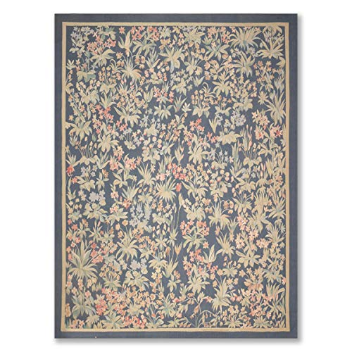 (9'x12' Blue Sage Rose, Grey, Multi Color Hand Woven Aubusson Area Rug 100% Wool Traditional Botanical Design Oriental)