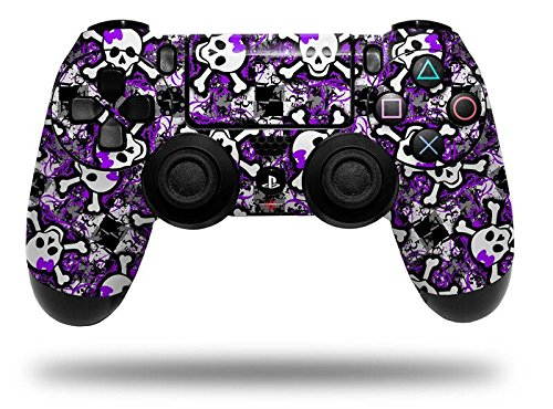 Splatter Girly Skull Purple - Decal Style Wrap Skin fits Sony PS4 Dualshock Controller (CONTROLLER NOT INCLUDED) by WraptorSkinz