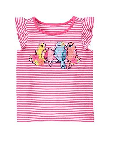 Gymboree Baby Toddler Girls' Lovebirds Stripe Graphic Tee, Babydoll Pink, 2T