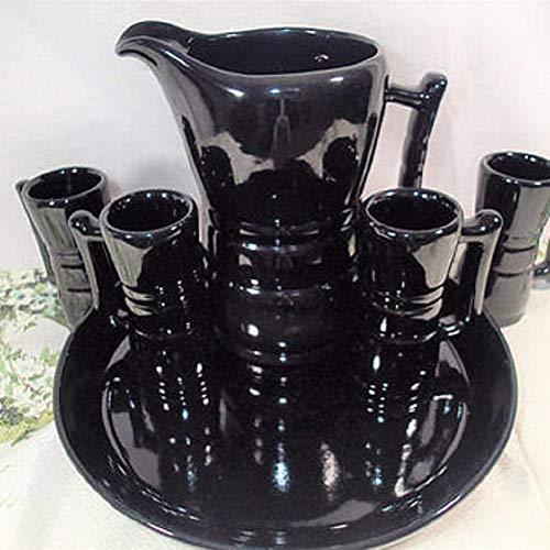 Black Onyx Mid Century Modern Pot and 4 mug Serving ()