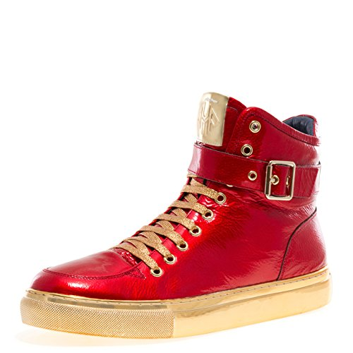 - Jump Newyork Men's Sullivan Round Toe Hand-Painted Leather Lace-Up Inside Zipper and Strap High-Top Sneaker Red Patent 11 D US Men