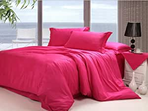 600 TC Ultra Soft Silky 100% Egyptian cotton Luxurious Fitted sheet Queen Hot Pink solid