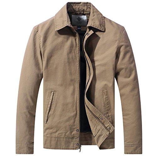 WenVen Men's Casual Long Sleeve Full Zip Jacket with ()