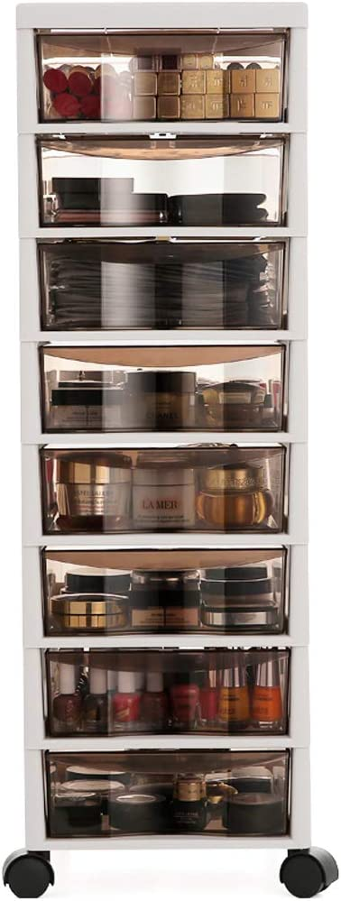 MOOCHI 8-Drawer Multipurpose Rolling Cart Storage Bin Organizer for Office Makeup Home