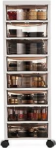 MOOCHI 8-Drawer Multipurpose Rolling Cart Storage Bin Organizer for Office Makeup Home