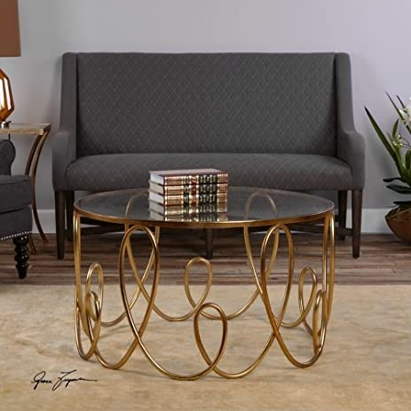 Uttermost 24620 Brielle Coffee Table, Antique Gold