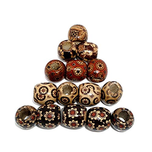 Meiyiu DIY Jewelry Mixed Painted Drum Wood Spacer Beads Barrel Beads 100pcs a Pack Various Patterns