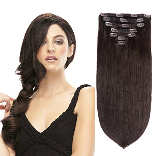 15'' Remy Human Hair Clip in Extensions for Women Dark Brown(#2) 7 Pieces 120grams/4.23oz by BHF HAIR
