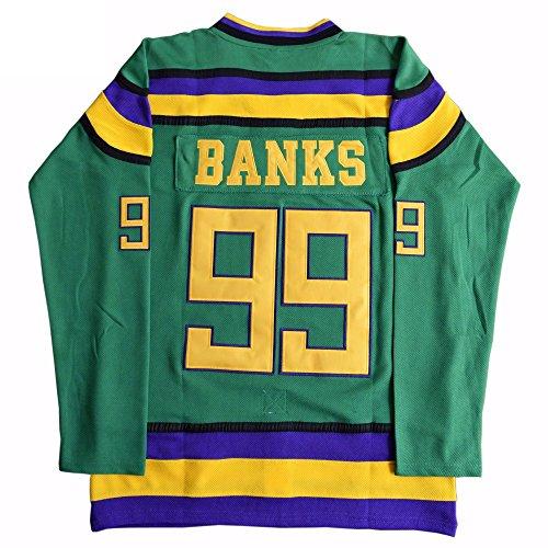 Adam Banks 99 Ducks Hockey Jersey S-XXXL Green