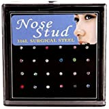 Niome 24 x Women Elegant Crystal Rhinestone Titanium Steel Nose Ring Bone Stud Set