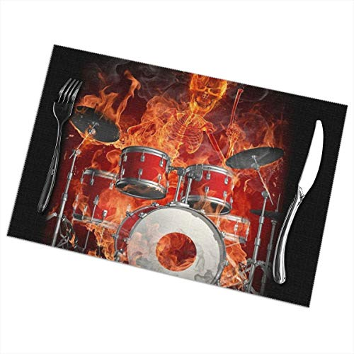 - Drummer Skeleton Fire Placemats Plate Mats for Dining Table Set of 6