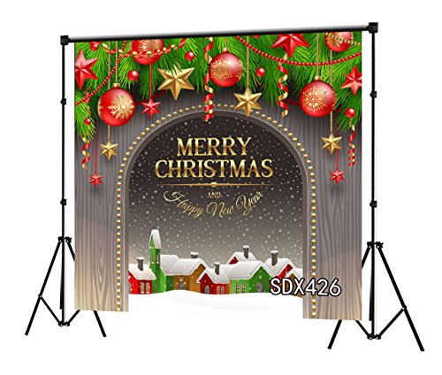 LB 8x8ft Merry Christmas Balls Vinyl Photography Backdrop Happy Year Decor Customized Party Banner Photo Background Studio Prop SDX426