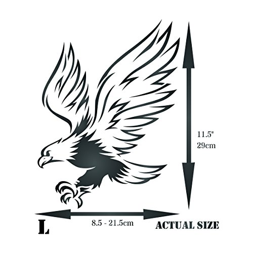 Eagle Stencil -8 5 x 11 5 inch (L) - Reusable Bird Animal Wildlife Wall  Stencil Template - Use on Paper Projects Scrapbook Journal Walls Floors  Fabric
