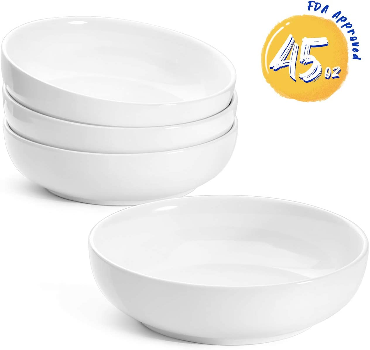 LE TAUCI Pasta Bowls Ceramic Salad Bowl, Large Serving Bowl Set 45 Ounce - Set of 4, White