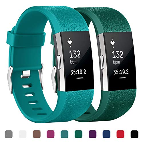 Kutop Bands Compatible Fitbit Charge 2 Straps, Soft TPE Replacement Wristband Sports Fitness Accessory Bands Fitbit Charge 2 Bands for Girl Boy, Small Large ()
