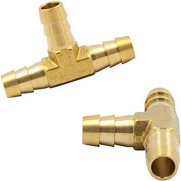 3//8 x 3//8 x 3//8 Hose Barbed T Fitting Brass 3 Way Union Legines Barb Tee 2 pcs