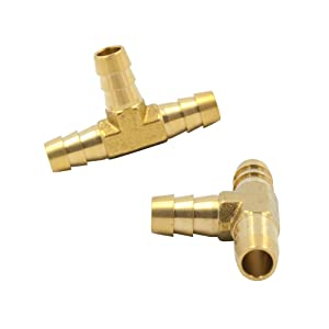 "Legines Barb Tee, 1/8"" x 1/8"" x 1/8"" Hose Barbed T Fitting, Brass 3 Way Union, 2 pcs"