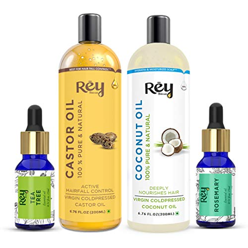 Rey Naturals hair oils combo/hair care kit (Castor oil + Coconut oil + Tea tree oil + Rosemary oil) controls hairfall…