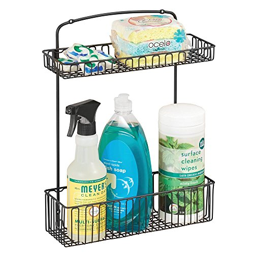 mDesign Under-Sink Storage Organizer Shelf for Dish Soap, Sponges, Cleaning Supplies - Wall/Cabinet Mount, 2-Tier, Matte Black