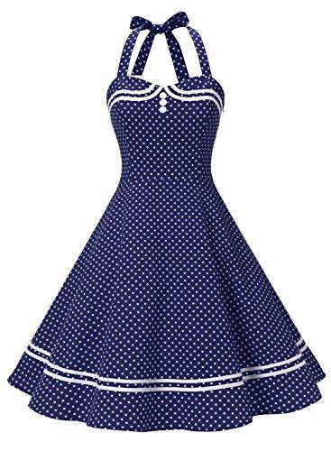 Timormode Vestido Cóctel Corto Vintage 50s Cuello Halter Vestido De Fiesta Rockabilly Mujer Navy Dot