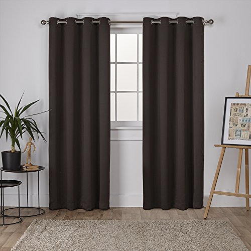 Exclusive Home Curtains Sateen Twill Weave Blackout Window Curtain Panel Pair with Grommet Top, 52x84, Espresso, 2 Piece