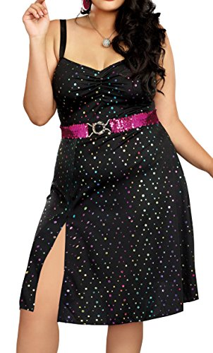 Dreamgirl Women's Disco Diva Plus Size, Black, 1X ()