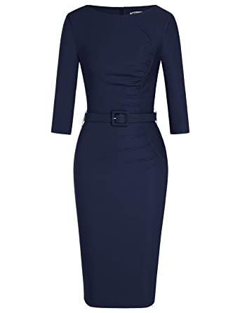b9e09b4119ee MUXXN Women's Retro 1950s Boat Neck Ruched Formal Work Office Pencil Dress  at Amazon Women's Clothing store:
