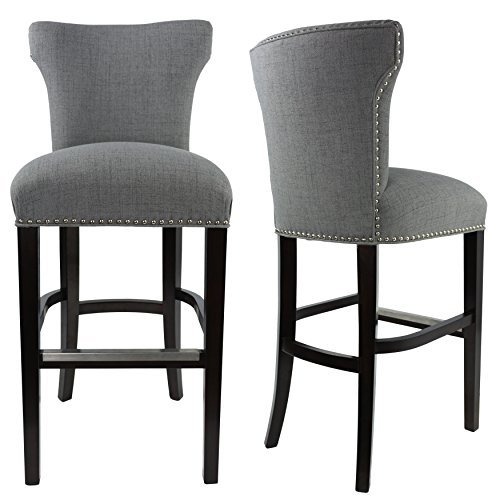 Sole Designs Bella Collection Modern Upholstered Bar Stool Chair With Concave Back and Hand Applied Nail Head Trim, Ash Gray/Black, Single Barstool