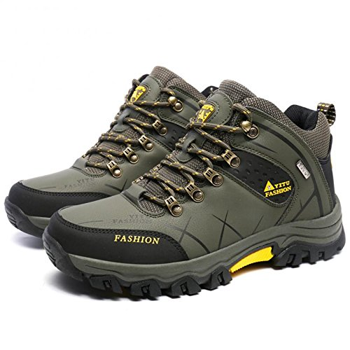 GOMNEAR Hiking Boots Men High Top Trekking Shoes Outdoor Non Slip Ankle Support Backpacking Walking Climbing Sneakers by, Green-39