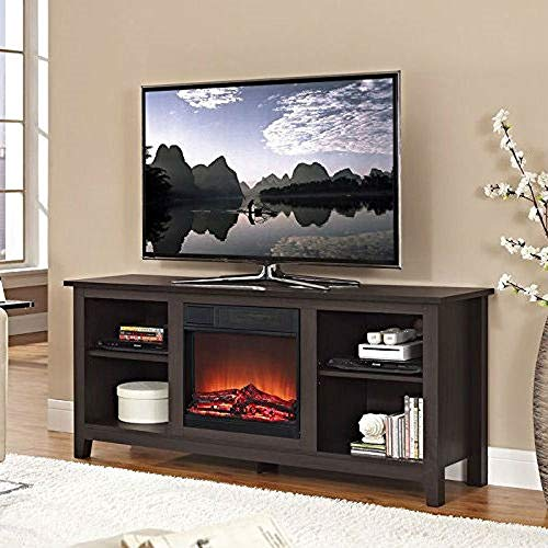 Cheap CHOOSEandBUY Espresso Wood TV Stand with Electric Fireplace Heater Insert New Sturdy Classic Elegant Furniture Black Friday & Cyber Monday 2019