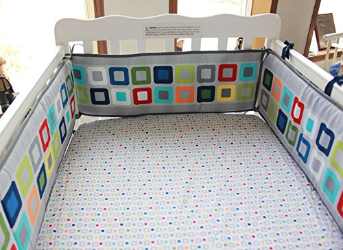 NAUGHTYBOSS Baby Bedding Set Cotton 3D Embroidery Colorful Tetris Quilt Bumper Mattress Cover Urine Bag Blankets 9 Pieces Multicolor by NAUGHTYBOSS (Image #6)