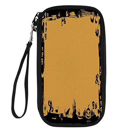 iPrint Halloween,Black Framework Borders with Halloween Icons Cats Bats Skulls Ghosts Spiders Decorative,Yellow Black for Women Canvas Document Organizer Clutch -