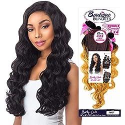 """Sensationnel Human Hair Blend Weave Premium Too 3 Multi Bundles Boutique Body Wave (18""""+20""""+22"""") + 4X4 Closure (T1B/BG)"""