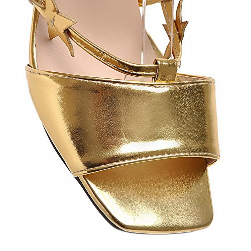 AllhqFashion Mujeres Sólido Material Suave Cordones Puntera Abierta Tacón ancho Sandalia Gold