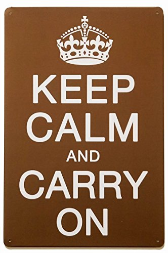 ERLOOD Keep Calm and Carry On Retro Vintage Decor Metal Tin Sign 12 X8 ()