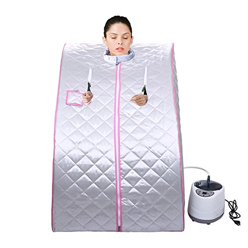 JEOBEST Portable Home Steam Sauna Spa with Chair Weight Loss Slimming Bath Indoor Bath 38.6 x 27.6 x 31.5Inches