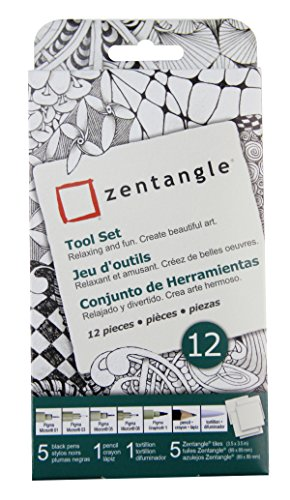 "Sakura #50110 Zentangle 12 Pc Set w/ 3.5"" White Tiles"