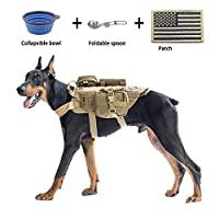 EJG Military Tactical Service Dog Training Vest Police Molle Dog Harness Camp...