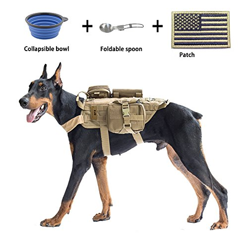 EJG Military Tactical Service Dog Training Vest Police Molle Dog Harness Camping Hiking Traveling Nylon Adjustable Coat with 3 Detachable Pouches For Medium & Large Dog (Brown, XL)